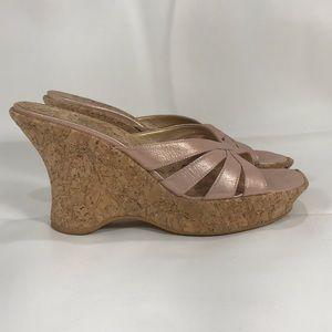 Stuart Weitzman cork wedge platform sandals sz 9